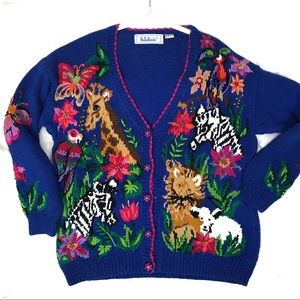 Vintage belle pointe zoo animal cardigan sweater